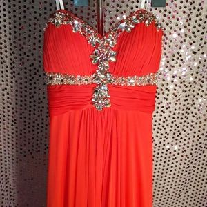 Beautiful red bejeweled long dress size 6